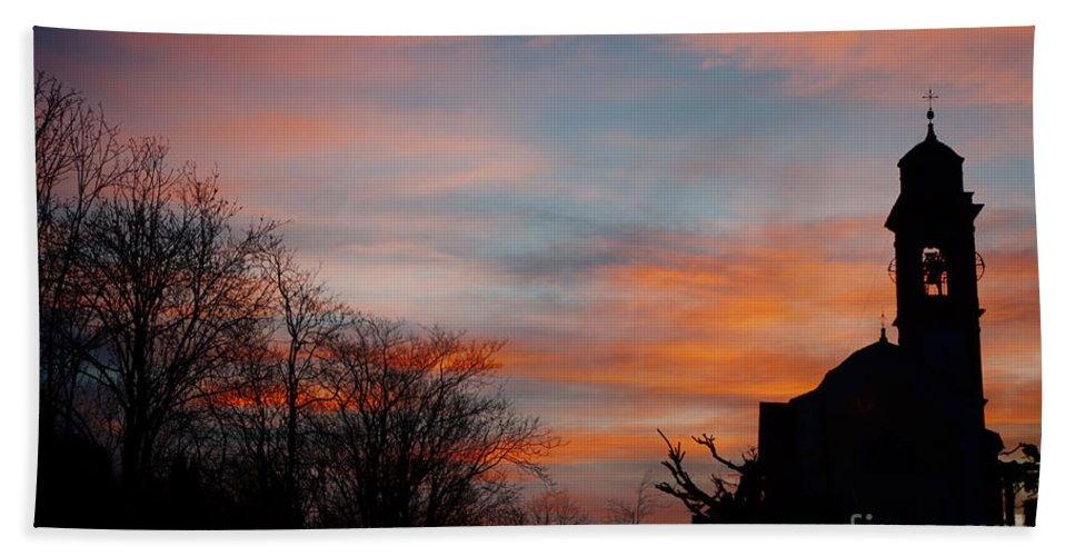 Church Bath Sheet featuring the photograph Church With Orange Sky by Mats Silvan
