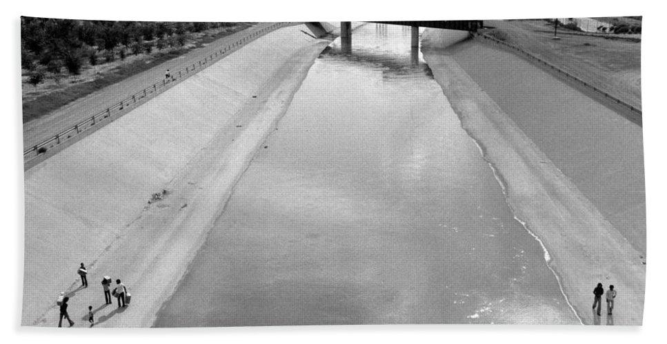 Cigarette Venders Rio Grande River Separating El Paso And Juarez 1977 Bath Sheet featuring the photograph Cigarette Venders Rio Grande River Separating El Paso And Juarez 1977 by David Lee Guss