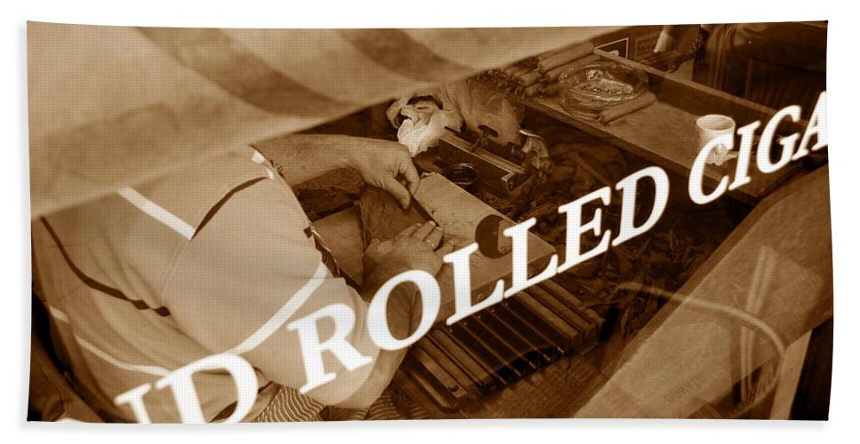 Ybor City Florida Hand Towel featuring the photograph Cigars The Old Fashion Way by David Lee Thompson