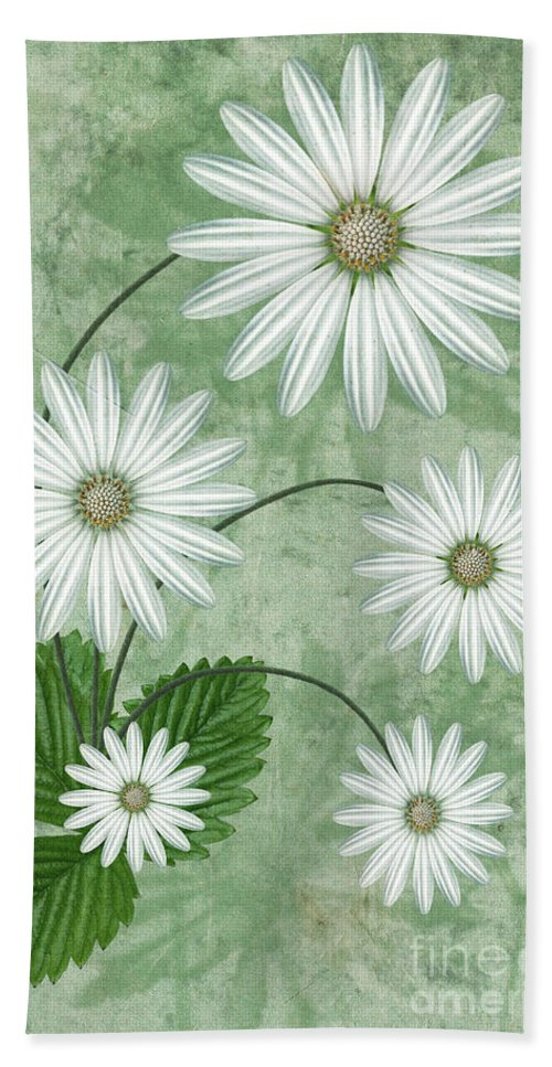 Abstract Flowers Bath Towel featuring the digital art Cinco by John Edwards
