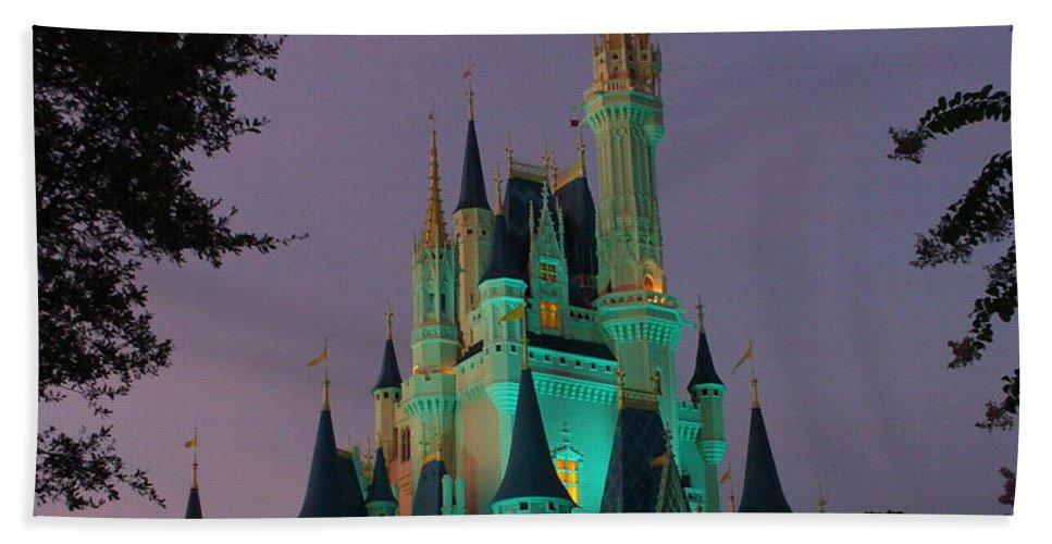 Disney Magic Kingdom Bath Sheet featuring the photograph Cinderella Castle At Night by Lingfai Leung