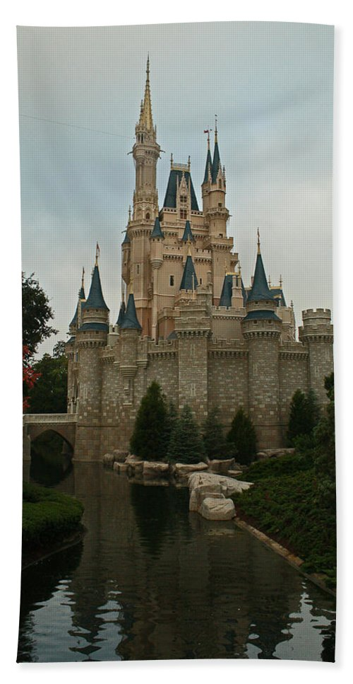 Cinderella Hand Towel featuring the photograph Cinderella's Castle Reflected by Michael Porchik