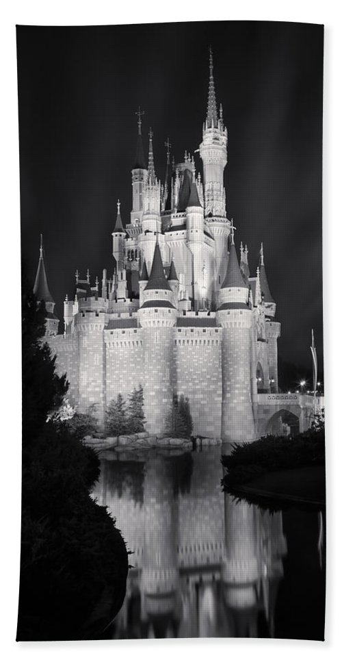 3scape Bath Towel featuring the photograph Cinderella's Castle Reflection Black and White by Adam Romanowicz