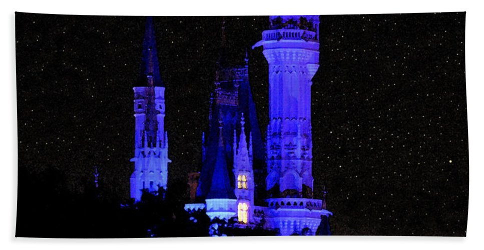 Cinderellas Castle Bath Sheet featuring the painting Cinderellas Night by David Lee Thompson