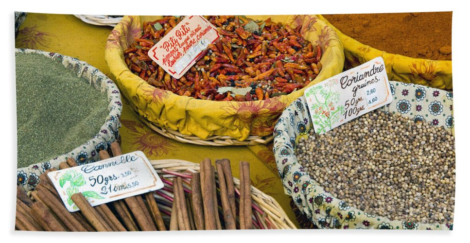 Market Day Lourmarin France Spice Spices Basket Baskets Markets Still Life Provence Bath Sheet featuring the photograph Cinnamon And Spice by Bob Phillips