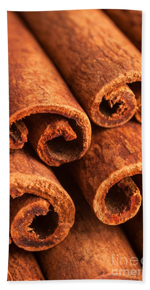 Brown Cinnamon Sticks Bath Sheet featuring the photograph Cinnamon - Cinnamomum by Iris Richardson