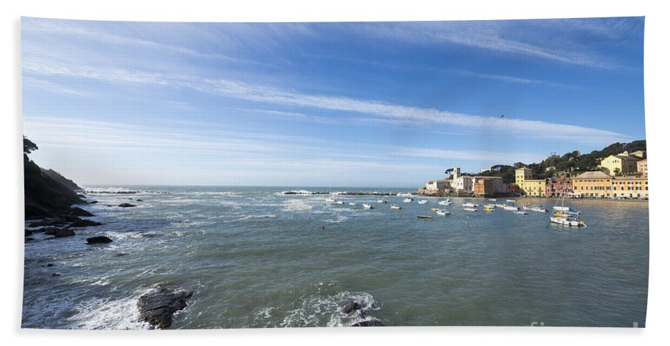 Village Bath Sheet featuring the photograph Cinque Terre And The Sea by Mats Silvan