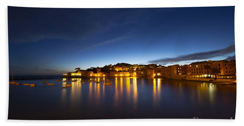 Village Bath Sheet featuring the photograph Cinque Terre At Night by Mats Silvan