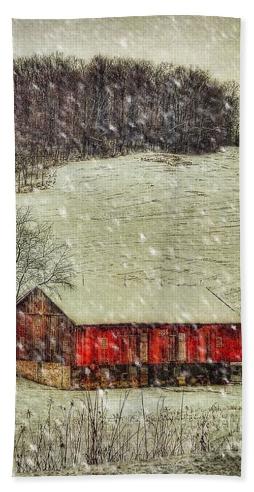 Red Barn Hand Towel featuring the photograph Circa 1855 by Lois Bryan