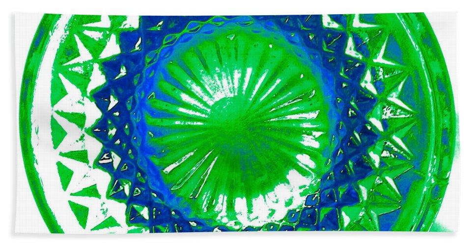 Abstract Bath Sheet featuring the mixed media Circle Green by Anita Lewis