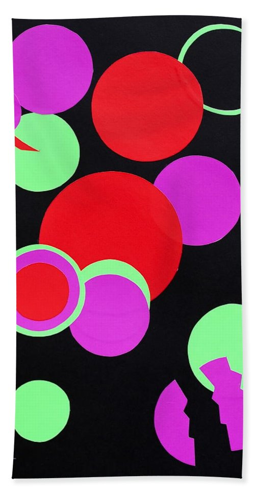 Abstract Bath Sheet featuring the mixed media Circle Study One by Michele Myers