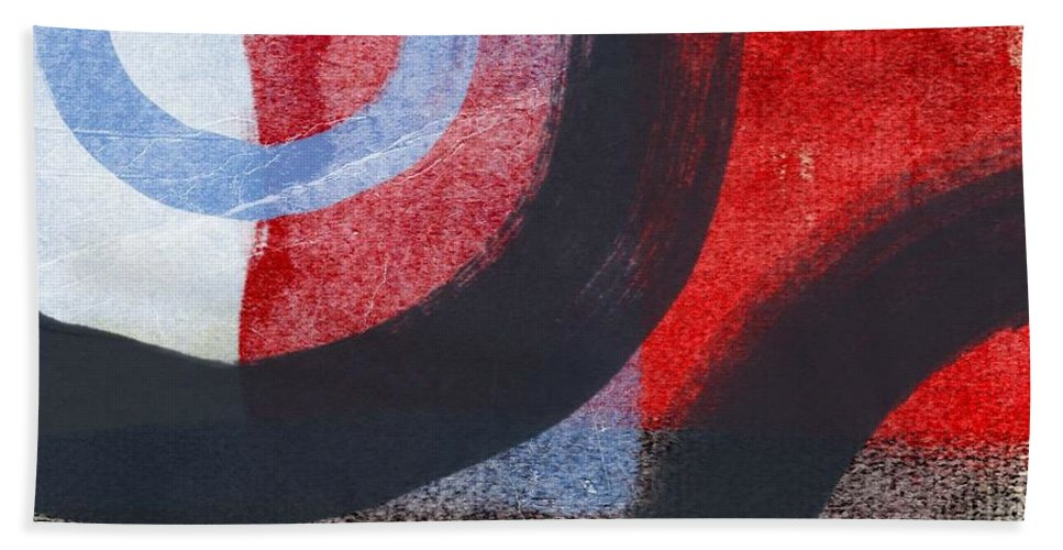Circles Hand Towel featuring the painting Circles 1 by Linda Woods
