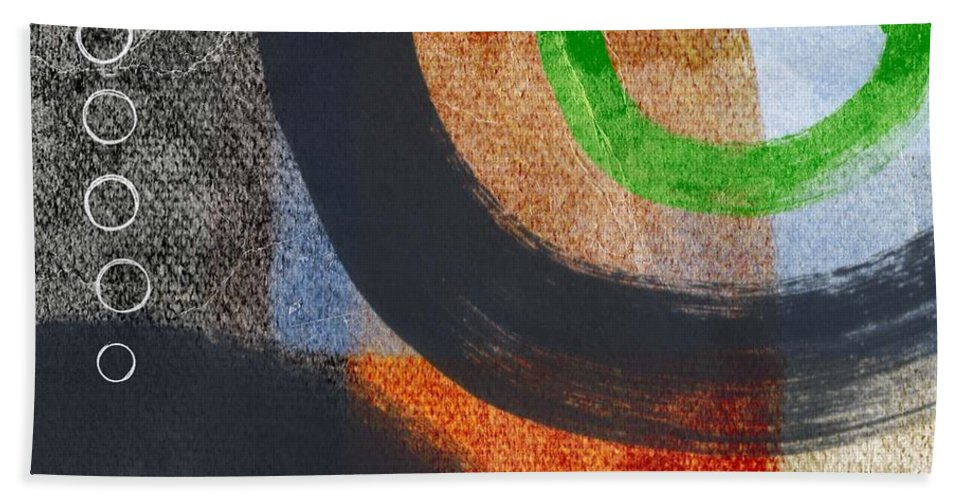Circles Hand Towel featuring the painting Circles 2 by Linda Woods