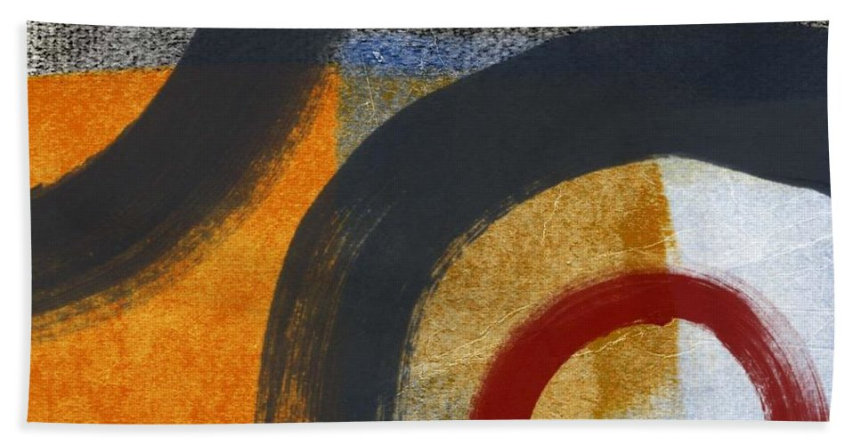 Circles Bath Towel featuring the painting Circles 3 by Linda Woods