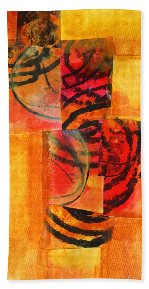 Abstract Bath Sheet featuring the painting Circles Squared by Nancy Merkle