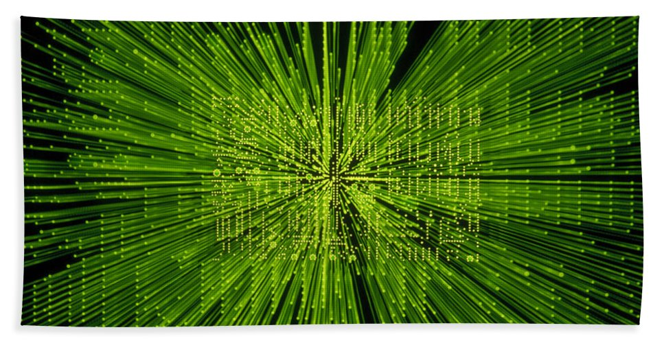 Green Bath Sheet featuring the photograph Circuit Zoom by Jerry McElroy