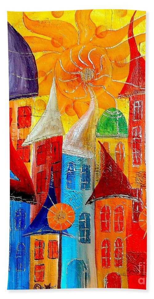 Abstract Hand Towel featuring the digital art City 531-11-13 Marucii by Marek Lutek