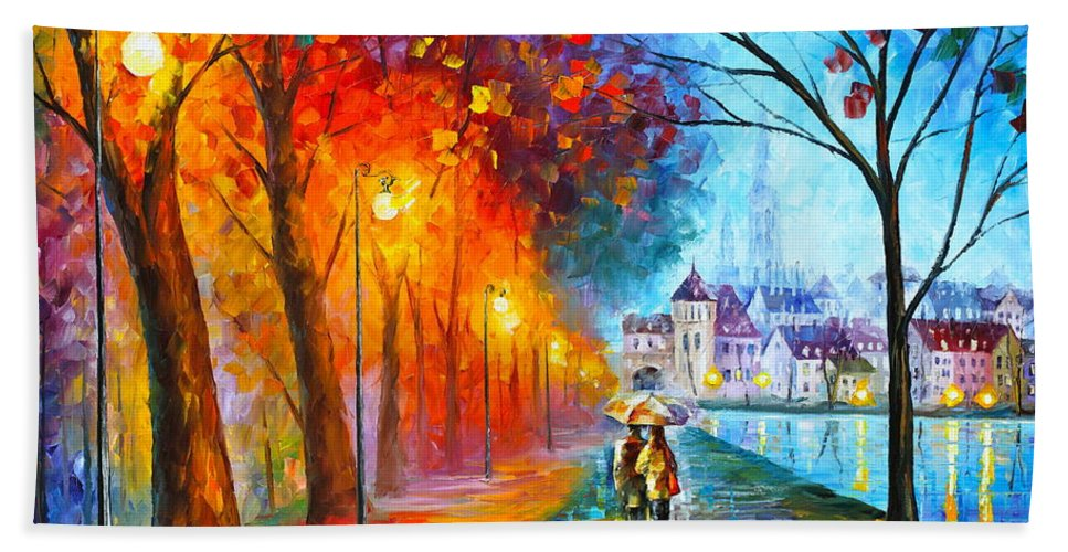 Afremov Bath Towel featuring the painting City By The Lake by Leonid Afremov