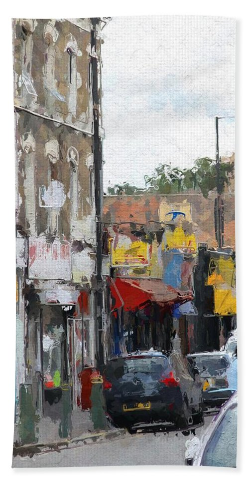 City Urban London Shop Shops Store Stores Color Colorful Expressionism Impressionism Car Street Bath Sheet featuring the painting City Colors by Steve K