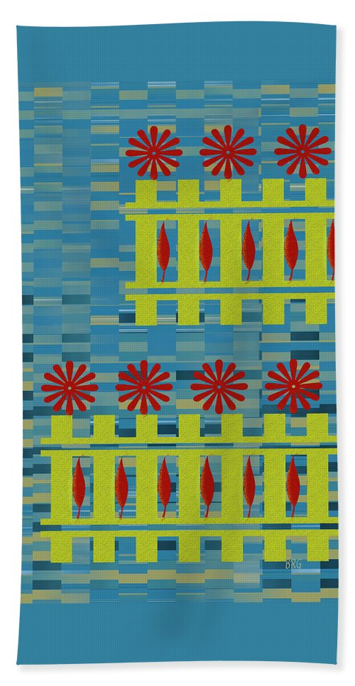 Multicolored Hand Towel featuring the digital art City Garden by Ben and Raisa Gertsberg
