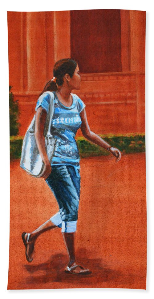 City Hand Towel featuring the painting City Girl by Usha Shantharam