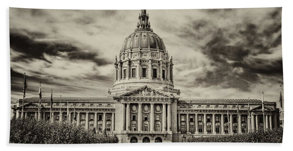 San Francisco Bath Sheet featuring the photograph City Hall Antiqued Print by Diana Powell