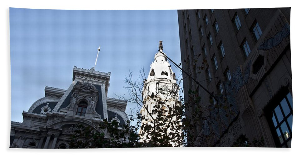 City Hall At Market Street Hand Towel featuring the photograph City Hall At Market Street by Bill Cannon
