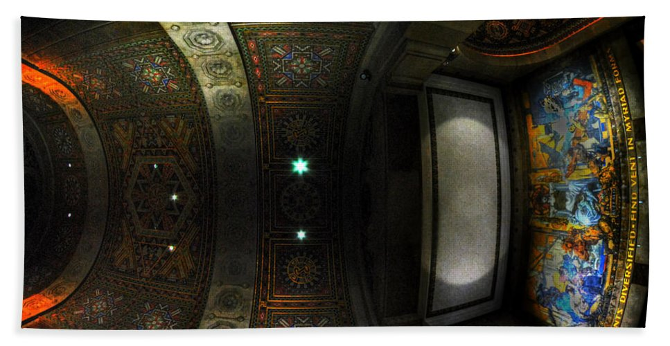 Art Deco Hand Towel featuring the photograph City Hall Ceiling Talents Diversified Find Vent In Myriad Form by Michael Frank Jr