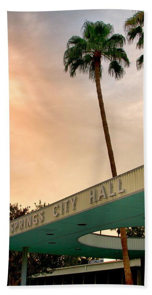 Palm Springs Bath Sheet featuring the photograph City Hall Sky Palm Springs City Hall by William Dey