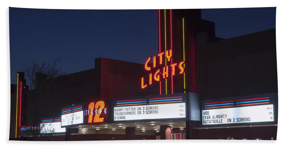 City Lights Movie Theater Hand Towel featuring the photograph City Lights After Dark by Bob Phillips