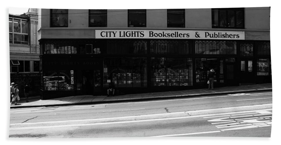 San Francisco Hand Towel featuring the photograph City Lights Booksellers by Aidan Moran