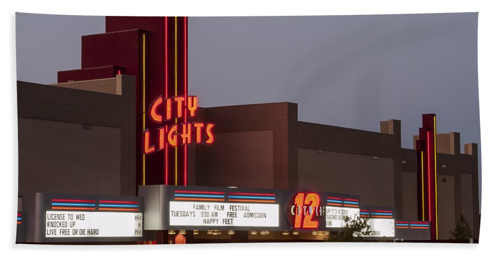 City Lights Movie Theater Georgetown Texas Movies Theaters Building Buildings Structure Structures Architecture Sign Signs Marquee Marquees Hand Towel featuring the photograph City Lights Marquee by Bob Phillips