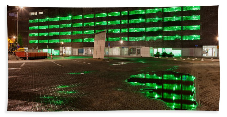 City Hand Towel featuring the photograph City Lights Urban Abstract by Artur Bogacki