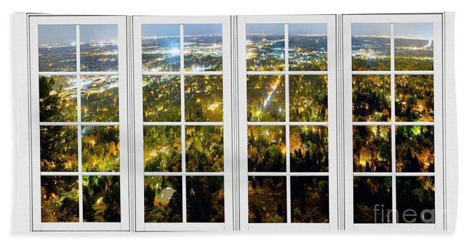 Windows Hand Towel featuring the photograph City Lights White Window Frame View by James BO Insogna