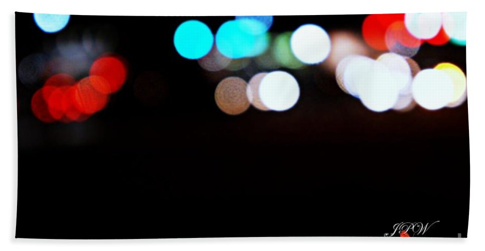 Traffic Hand Towel featuring the photograph City Night Lights by Jannice Walker