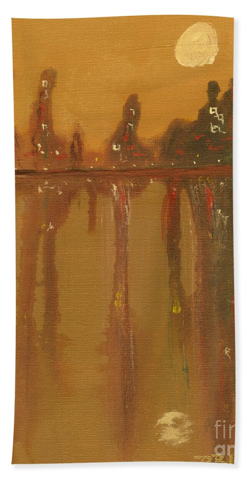 City Hand Towel featuring the painting City Night by Paulette B Wright