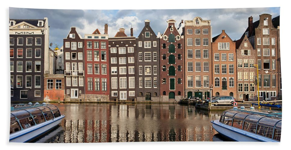 Amsterdam Bath Sheet featuring the photograph City Of Amsterdam At Sunset In Netherlands by Artur Bogacki