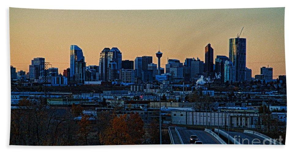 Calgary Hand Towel featuring the photograph City Of Calgary by Randy Harris