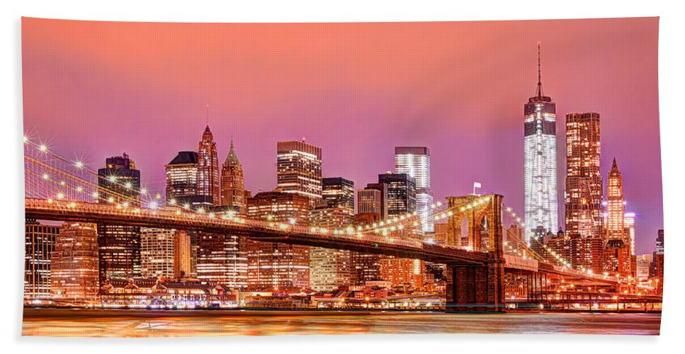 Manhattan Hand Towel featuring the photograph City Of Lights by Midori Chan