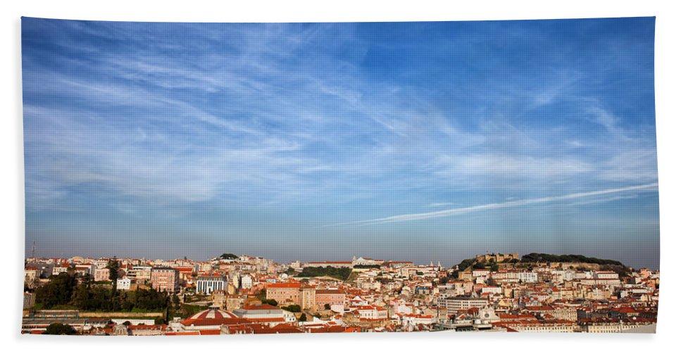 Lisbon Hand Towel featuring the photograph City Of Lisbon At Sunset by Artur Bogacki