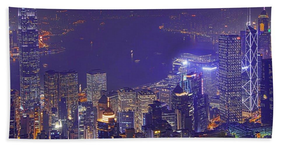 Hong Kong Bath Sheet featuring the photograph City Of Magic by Midori Chan