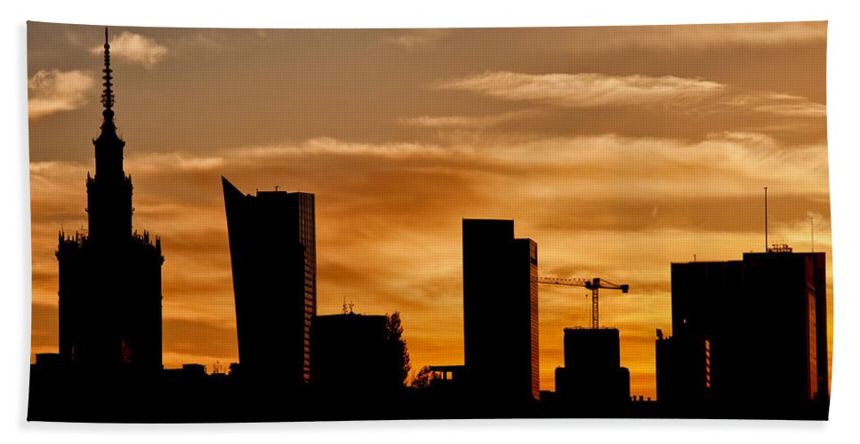 Warsaw Hand Towel featuring the photograph City Of Warsaw Skyline Silhouette by Artur Bogacki
