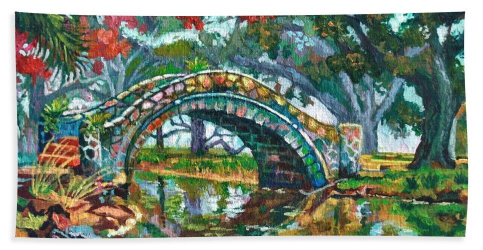 Art Bath Sheet featuring the painting City Park by Lisa Tygier Diamond