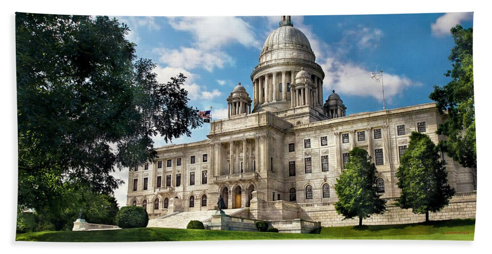 Savad Bath Sheet featuring the photograph City - Providence Ri - The Capitol by Mike Savad