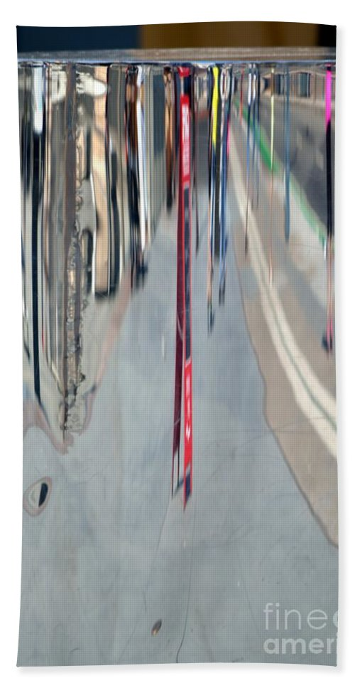 Reflections Hand Towel featuring the photograph City Reflections by Beth Sanders