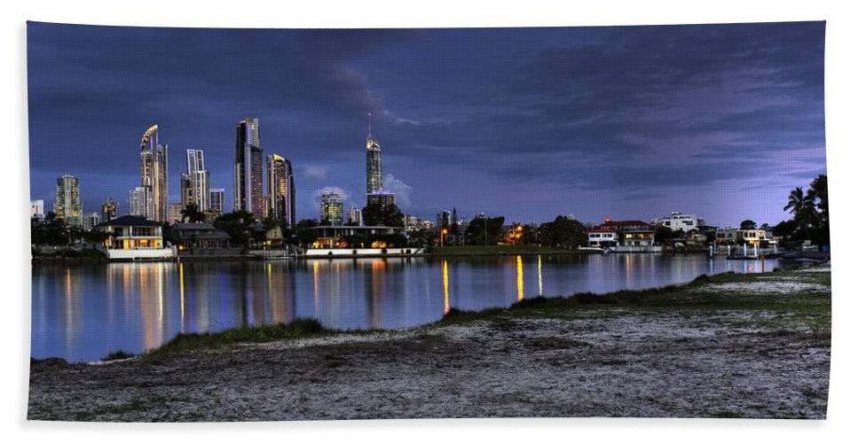 Surfers Paradise Hand Towel featuring the photograph City Skyline At Night by Darren Burton