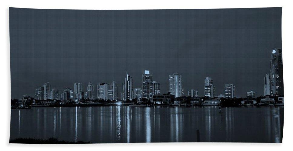 Surfers Paradise Hand Towel featuring the photograph City Skyline Monochrome by Darren Burton