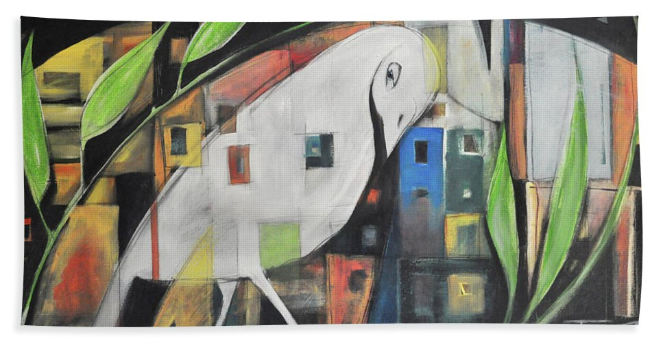 Bird Hand Towel featuring the painting City Strut by Tim Nyberg