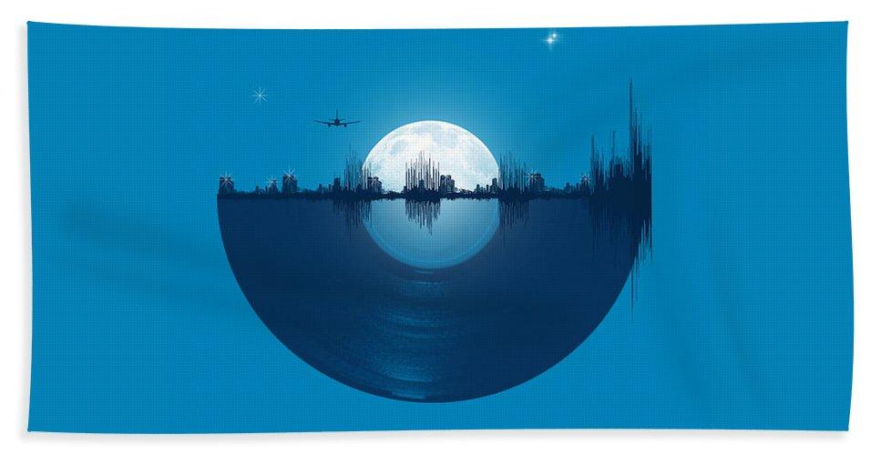 City Bath Towel featuring the digital art City tunes by Neelanjana Bandyopadhyay