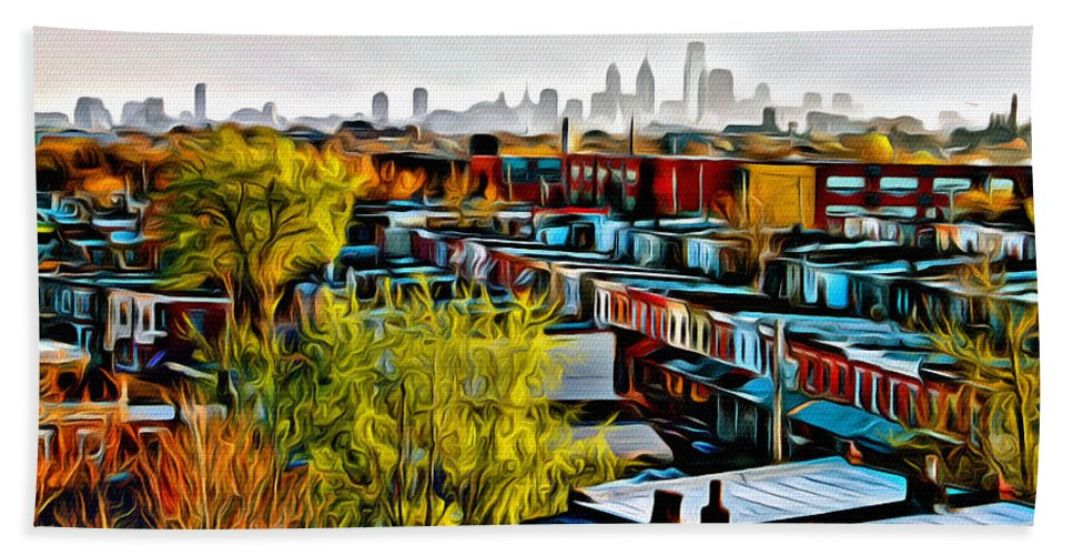 Philadelphia Bath Sheet featuring the photograph City View Five by Alice Gipson